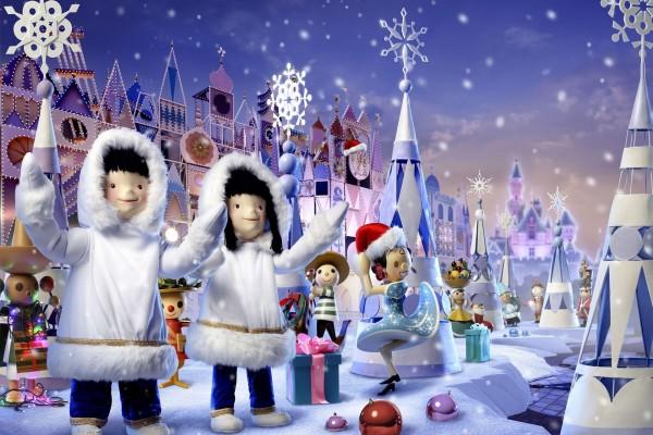 Muñecos del mundo celebrando la Navidad
