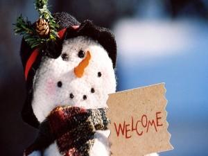 Postal: Un muñeco de nieve te da la bienvenida