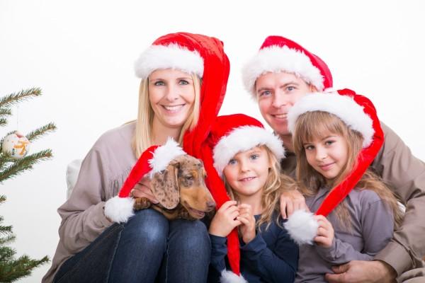 Familia unida en Navidad
