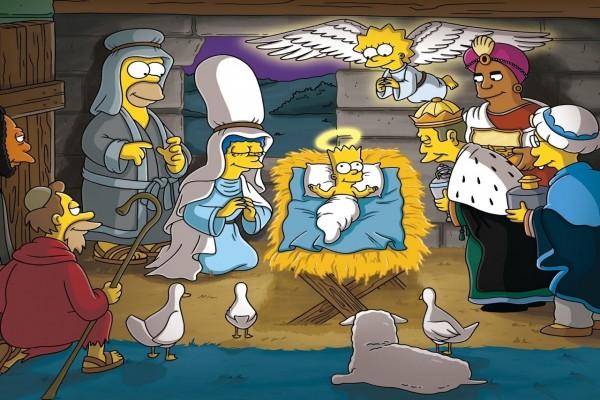 Los Simpsons recreando el nacimiento del niño Jesús