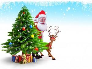 Santa Claus y Rudolph junto al árbol de Navidad