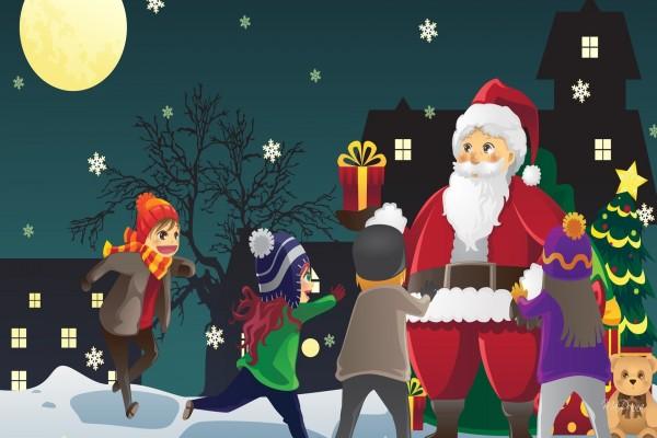 Niños corriendo felices para ver a Papá Noel