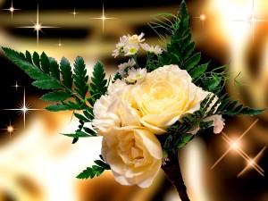 Postal: Ramo de novia con rosas