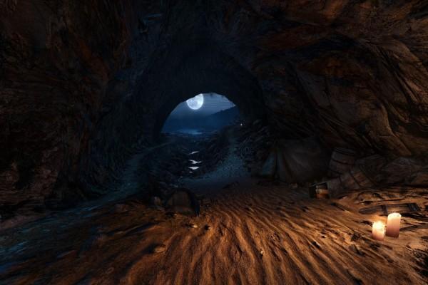 La luz de la luna ilumina la cueva