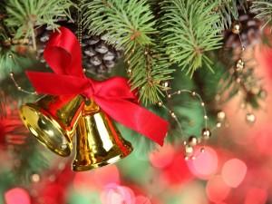 Campanas doradas en las ramas de un pino navideño