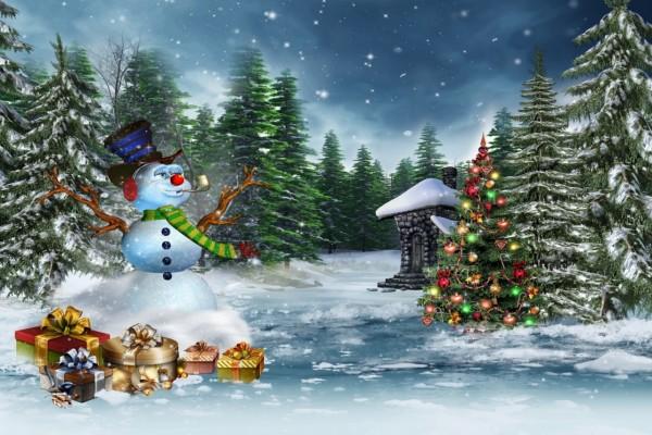 Pasó Santa Claus y dejó los regalos navideños junto al muñeco de nieve