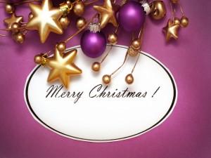 Postal: Feliz Navidad entre adornos
