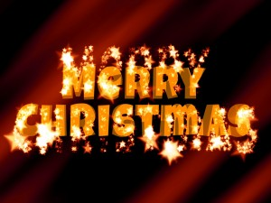 """Postal: Brillantes letras de """"Feliz Navidad"""""""
