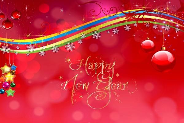 Imagen navideña y mensaje de ¡Feliz Año Nuevo!
