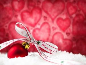Feliz Navidad sobre un lazo
