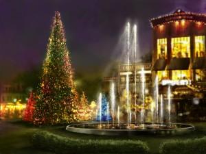 Árboles de Navidad iluminados junto a una fuente