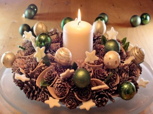 Postal: Centro de mesa para los días de fiesta navideños