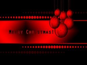 Postal: Imagen roja y negra de ¡Feliz Navidad!