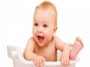 Un bebé feliz
