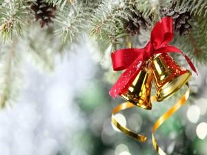 Campanitas doradas y un lazo rojo colgados en el árbol de Navidad