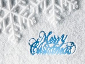 Postal: Feliz Navidad escrito sobre la nieve