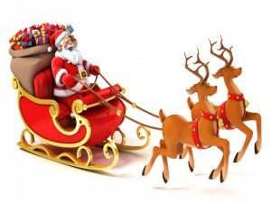 Se acerca Santa Claus en su trineo
