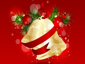 Postal: Campanas doradas y otros adornos navideños