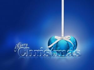 Postal: ¡Feliz Navidad! en un fondo azul