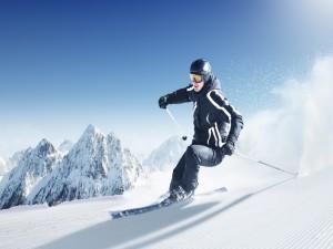 Postal: Esquiando en un bonito día