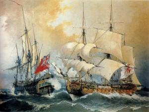 Postal: El almirante Blas de Lezo capturando la fragata británica Stanhope