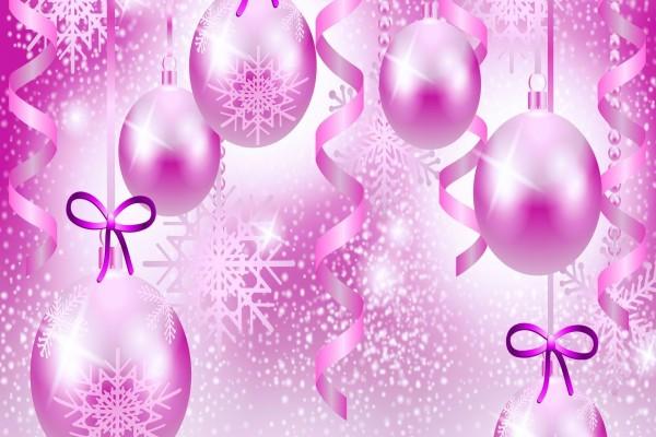 Bolas rosadas para Navidad