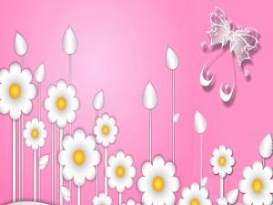 Postal: Mariposa y flores de fantasía