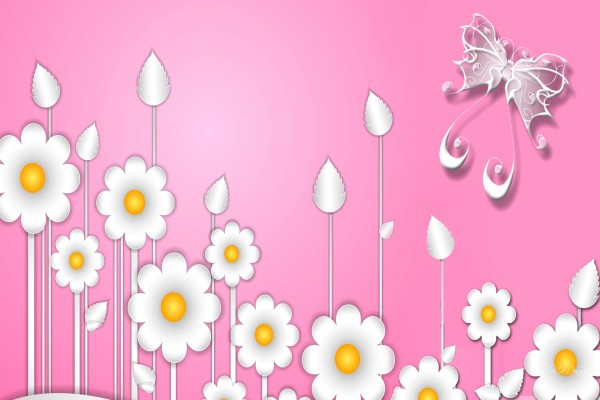 Mariposa y flores de fantasía