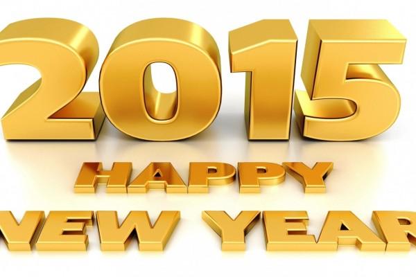 ¡Feliz Año 2015! en letras doradas