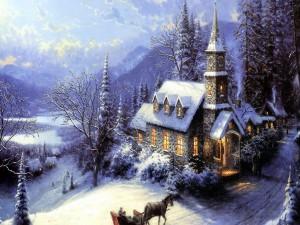 """Postal: """"Navidad en un pueblo alpino"""", pintura de Thomas Kinkade"""