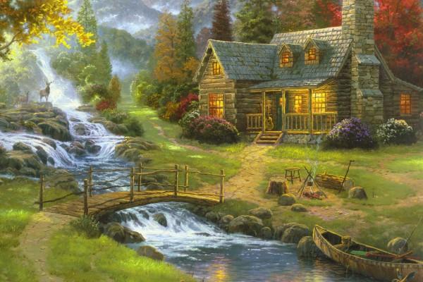 Una cuadro pintado por Thomas Kinkade