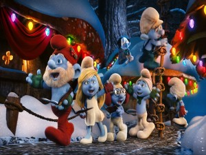Postal: Los Pitufos en Navidad