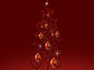 Postal: Brillante árbol de Navidad
