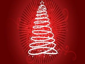Postal: Árbol de Navidad en fondo rojo