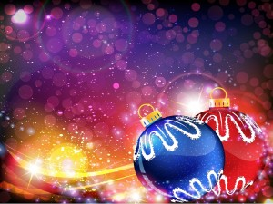 Bolas navideñas roja y azul