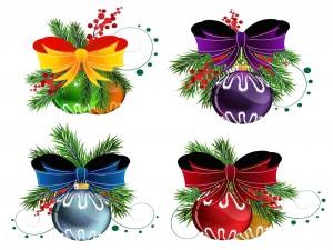 Postal: Cuatro hermosos adornos para Navidad