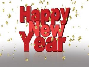 ¡Feliz Año Nuevo! en grandes letras rojas