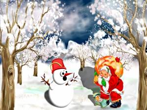 Postal: Santa Claus en un bosque nevado