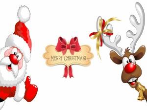 Santa Claus y Rudolph te desean una Feliz Navidad