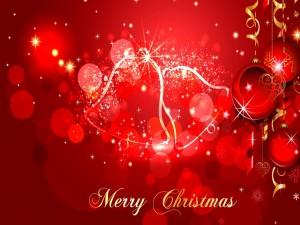 Feliz Navidad en un bonito fondo rojo