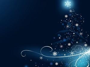 Postal: Copos de nieve formando un árbol de Navidad