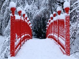 Puente rojo cubierto de nieve