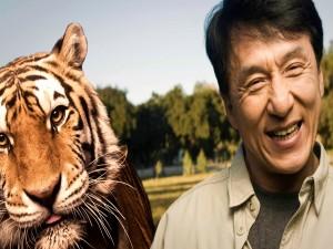 Postal: Jackie Chan junto a un tigre