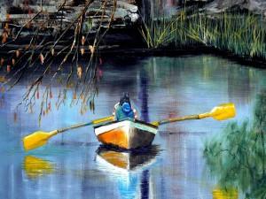 Postal: Barca en un lago