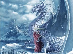 Gran dragón en un lugar helado