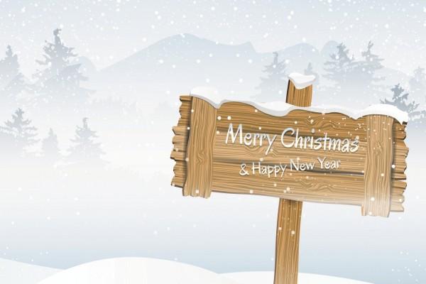"""Cartel de """"Feliz Navidad y Feliz Año Nuevo"""""""