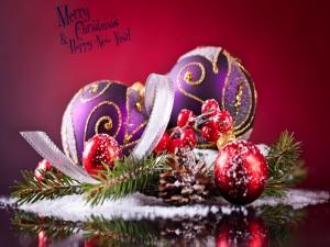 Adornos y mensaje de Navidad