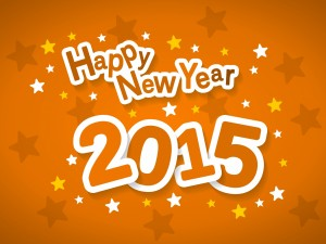 Postal: ¡Feliz Año Nuevo 2015! en un fondo naranja