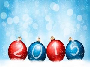 Postal: Bolas de Navidad con el Nuevo Año 2015