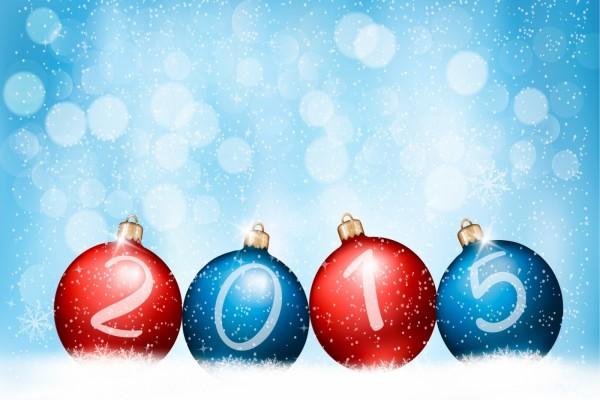Bolas de Navidad con el Nuevo Año 2015